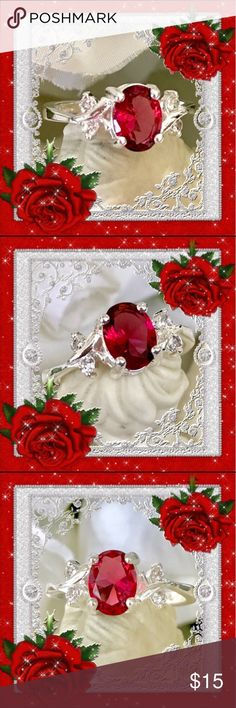 """🌺🌴🌺 STERLING SILVER TOPAZ RING 🌺🌴🌺 🌺🌴🌺 This dazzling sterling silver topaz ring is a cross between deep pink and red.  It's a smaller ring in general with the center stone measuring 4/8"""" wide x 5/8"""" high.  There are two small rhinestones on either side. 🌺🌴🌺 Jewelry Rings"""