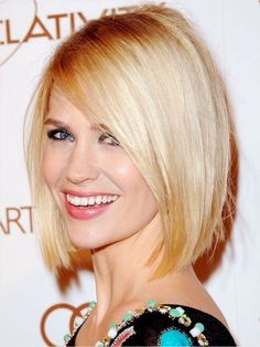 Hairstyles for long faces: January Jones bob hairstyle. Make a side part - it will downplay a long face shape by breaking up the symmetry. Avoid middle part with straight hair. It will make your face appear narrower. http://madamenoire.com/82457/hairstyle-dos-and-don%E2%80%99ts-for-oblong-faces-kelly-rowland/2/