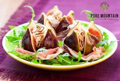 Stuffed Figs with Goat Cheese and Honey Lavender Balsamic Drizzle Recipe  | Pure Mountain Olive Oil and Vinegars | www.puremountainoliveoil.com | Fresh, sweet figs filled with a delicious goat cheese and walnut spread and then drizzled with honey and Lavender White Balsamic Vinegar. Served with Prosciutto. A heavenly appetizer!  | #figs #stuffedfigs #lavenderwhitebalsamicvinegar #honeylavender #recipe #puremountainoliveoil #goatcheese #prosciutto