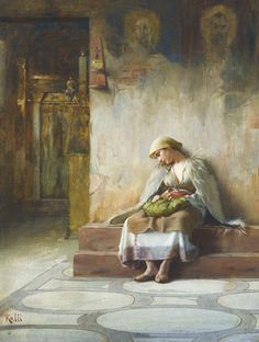 The Athenaeum - Young girl sleeping in a church - Theodoros Ralli (Greek, 1852 - Greek Paintings, Classic Paintings, European Paintings, Lausanne, A4 Poster, Poster Prints, Jean Leon, Girl Sleeping, Greek Art