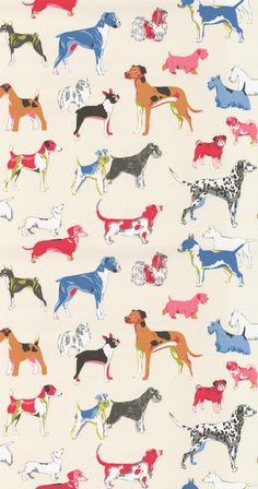 Great Dane French Bulldog Dachshund Bassett Dalmatian English Bull terrier and many more. a fun stylised all over design of our favourite dogs Cream Wallpaper, Dog Wallpaper, Wallpaper Direct, Animal Wallpaper, Dog Wash, Dog Rooms, English Bull Terriers, Dog Illustration, Dog Pattern