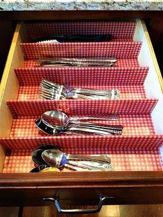 Hoosier at Heart: DIY silverware drawer. Organize your silverware. Organize your kitchen.