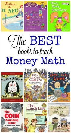This great list of books to teach money math concepts covers everything from the history of money to counting money to saving and investing! The ultimate list of money books for kids! Math For Kids, Fun Math, Math Games, Math Activities, Maths, Math Math, 19 Kids, Math Fractions, Learning Games
