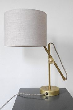 Solid Brass Table Lamp with Linen Shade