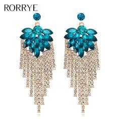 Luxury Summer Style 2017 New Fashion Long Tassel Crystal Dangle Earrings Statement Drop Earings Wedding Party Jewelry For Women