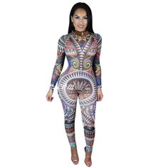 f687c0647ef Women Sexy Tribal Geometric Print Long Sleeve Keyhole Jumpsuit Bodysuit
