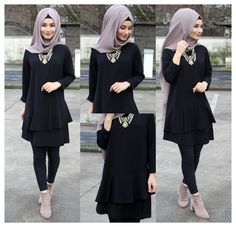#black #tunic #outfit #hijab Black tunic Frock Fashion, Modesty Fashion, Abaya Fashion, Tunic Designs, Dress Designs, Pakistani Fashion Party Wear, Muslim Women Fashion, Hijab Trends, Black Tunic