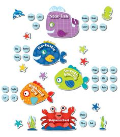 Make a huge splash in your classroom with the inviting, colorful and friendly Seaside Splash Bulletin Board Set while making behavior management fun! Includes 56 total pieces. 1 whale, 1 crab, 1 dolphin, 1 octopus, 5 fish, 8 starfish, 7 positive text overlays, 30 bubbles and 2 seaweed accents. Seaside Splash collection features an assortment of lively sea creatures in subtle contrasting designs and patterns with a splash of vivid colors to keep the classroom fun and engaging.