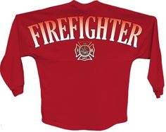 Firefighter pom print J america women Long sleeve shirt Front and back Game Day Jersey Fire department pom print  Rounded bottom waist Oversized cut #fire #pom #longsleeve #womensfashion #jersey