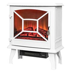 "Amazon.com: AKDY 20"" Retro-Style Floor Freestanding Vintage Electric Stove Heater Fireplace AK-ND-18D2P (Pure White): Home & Kitchen"