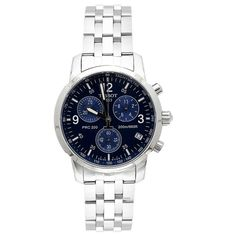 Tissot Men's T17158642 T-Sport PRC200 Chronograph Stainless Steel Blue Dial Watch - watches, pocket, black, fossil, the horse, unique watch *ad
