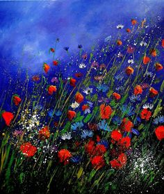 "Saatchi Online Artist: Pol Ledent; Oil, 2011, Painting ""wild flowers 78 """
