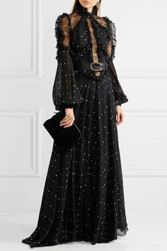 Multicolored silk-blend chiffon, black lace Concealed zip fastening along back 86% silk, 11% polyamide, 3% viscose; lining: 100% silk Dry clean Imported