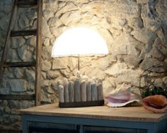 Driftwood lamp with weathered handmade lampshade