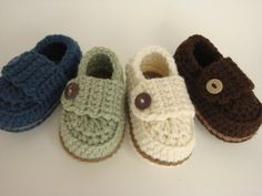 Baby Boy Button Loafers - Made to Order. $18.00, via Etsy.
