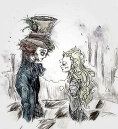 Alice and Tarrant - alice-in-wonderland-2010 Fan Art
