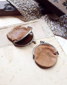 Pair of Vintage Kid Leather Tiny Coin Purses  by MyVintageSupplies