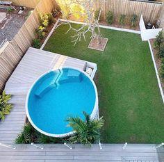 Small Pool Houses, Small Backyard Pools, Small Pools, Swimming Pools Backyard, Swimming Pool Designs, Backyard Landscaping, Pool Garden, Pool Pool, Kleiner Pool Design