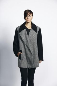 £110 Liquorish Herringbone Body Black Sleeve Formal Lapel Coat - New Women's Coat | Liquorish Clothing www.liquorishonline.com