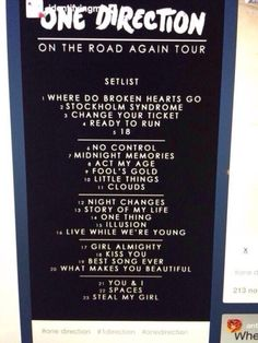 On The Road Again Tour 2015 setlist