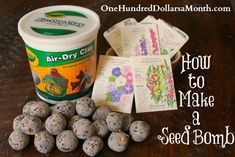 """to Make a Seed Bomb Seed bombs to teach the kids rogue gardening. Or to show how """"life will find a way""""Seed bombs to teach the kids rogue gardening. Or to show how """"life will find a way"""" Organic Gardening, Gardening Tips, Vegetable Gardening, Veggie Gardens, Gardening Books, Urban Gardening, Indoor Gardening, Container Gardening, Crayola Air Dry Clay"""