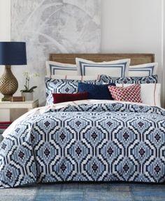 Tommy Hilfiger Ellis Island Ikat Full/Queen Comforter Set - Blue/Red