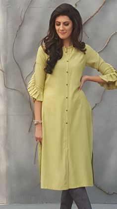 simple designer cotton light yellow color kurti order WhatsApp on Salwar Designs, Plain Kurti Designs, Silk Kurti Designs, Simple Kurta Designs, Kurta Designs Women, Kurti Designs Party Wear, Latest Kurti Designs, Kurti Sleeves Design, Kurta Neck Design