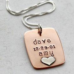 I love copper personalized jewelry.