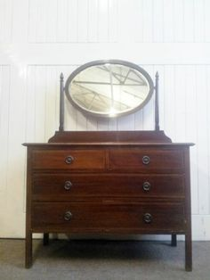Antique inlaid mahogany mirror dressing table