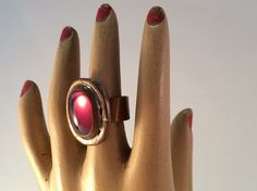 Rafael Brutalist/Modernist Ring ? Red Copper/Amethyst Glass Cabochon ? Early 1970's Rafael Alfandary Adjustable Ring - Quebec, Canada