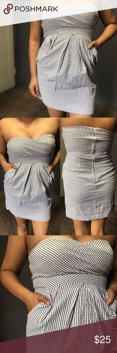 Grey/White Strapless Cocktail Dress • Adorable yet Sexy mini dress • Tag says Size 3 ( fits Small/Medium)  • 97% Cotton / 3% Spandex & 100% Polyester lined • Padded breast area for braless comfort  • 2 cute pockets as shown  • Working Zipper  • Very stretchy material especially on breast area  Model is 5'3 38B cup & 8-10 Size   ✨Bundle to save! BCX Dresses Strapless