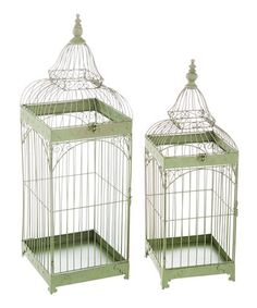 Green Antiqued Decorative Birdcage Set