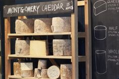 London, England - December 31, 2009: Neals Yard Dairy selling cheese at Borough Market in Southwark, London, England. Stock Photo