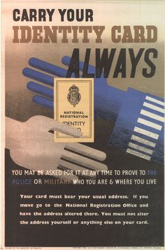 Poster reminding people to carry their ID cards.