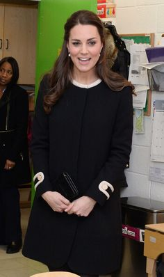 Kate visits a Harlem Child Development Center. NYC. Kate in a Goat coat.