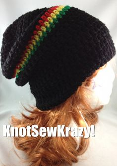 53d4fc1d4bb5bc Slouchy Beanie Crochet Hat Handmade Black with Red by roxygal48, $20.99