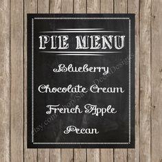 Custom Chalkboard Wedding Pie Dessert Station Sign Printable With Incorporating Signs Digital Files
