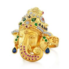 Ganesha ring from #BuddhaMamajewelry with #diamonds, #emeralds and blue and pink #sapphires ($5,800) See more at www.thejewelleryeditor.com