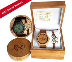 Unique bicycle watches made of FSC bamboo and leather. Come with a free bicycle bracelet. Unique gift for passionate cyclists.