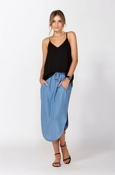 GENEVA CHAMBRAY SKIRT-CHAMBRAY BLUE-8