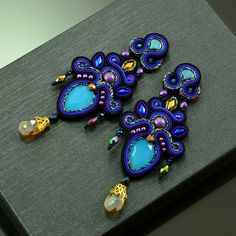 Gorgeous black purple and blue soutache earrings, long statement earrings, big earrings for the evening, chandelier purple blue earrings Soutache Earrings, Big Earrings, Rose Gold Earrings, Crystal Earrings, Statement Earrings, Shibori, Triangle Shape, Minimalist Jewelry, Blue Crystals