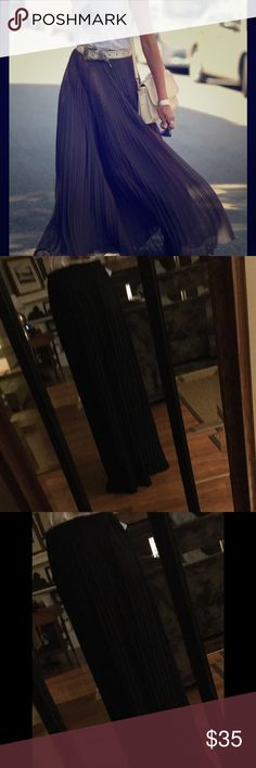 Long Black Sheer Pleated Maxi Vintage long pleated skirt, no tag, elastic waist Skirts Maxi