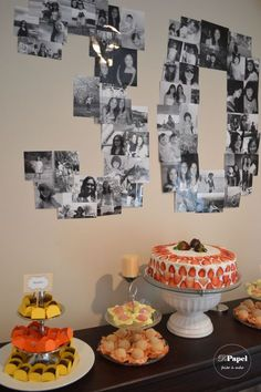 Twins 30th Birthday Party - always love a photo number collage (looks good in black & white)