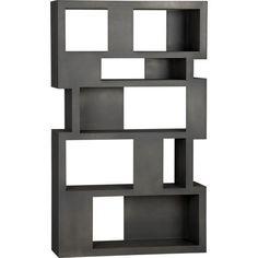 Storage Furniture - Pablo Room Divider | Crate and Barrel - room divider, matte black lacquer room divider, cubist room divider, bookshelf room divider, modern room divider, black room divider, graphite room divider,