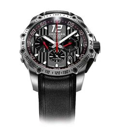 The Superfast Chrono sports a 45-mm-diameter case, and contains automatic Chopard Calibre 03.05-M. This watch also displays the seconds on a subdial at 6 o'clock but moves the date window to 4:30. The chronograph has a central sweep-second hand and a flyback function; the 30-minute counter is at 3 o'clock and the 12-hour hour counter is at 9 o'clock. There is also a tachymeter scale engraved on the bezel, another nod to auto racing.