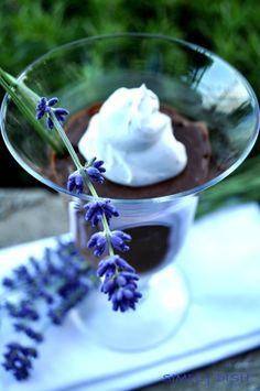Chocolate lavender pudding: What you'll need for two people…  1 fairly firm avocado 1/4c of cacao powder 2tbsp of coconut nectar (or agave) 1/2tsp of *vanilla powder (or 1tsp of vanilla extract will work) 6tbsp of 'So Delicious' coconut milk (any flavour will do!) a pinch of fresh edible lavender (so optional, but it's fun)