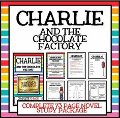 Charlie and the Chocolate Factory - Complete 73 Page Novel Study! Teaching Literature, Teaching Reading, Book Club Books, Lap Books, Book Clubs, Chocolates, The Chocolate Touch, Charlie Chocolate Factory, Jobs For Teachers