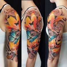 Half-sleeve-colour-Butterflies-and-Lily-Flower-tattoo copy