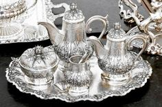 Photo about Old luxurious silver tea set at tray. Image of metal, silver, tabletop - 12747257 Silver Trays, Silver Plate, Silver Ring, Best Silver Polish, Vintage Silver, Antique Silver, Silver Tea Set, Shower Installation, How To Clean Silver