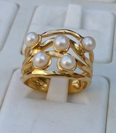 Pearl Gold Ring 14K Yellow Gold Ring Handmade Pearl by TalyaDesign